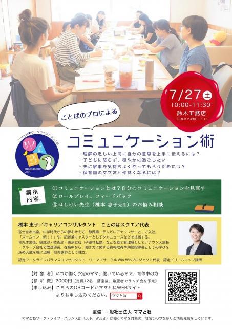 【ママとねWLB部】橋本恵子先生「ことばのプロによるコミュニケーション術」講座